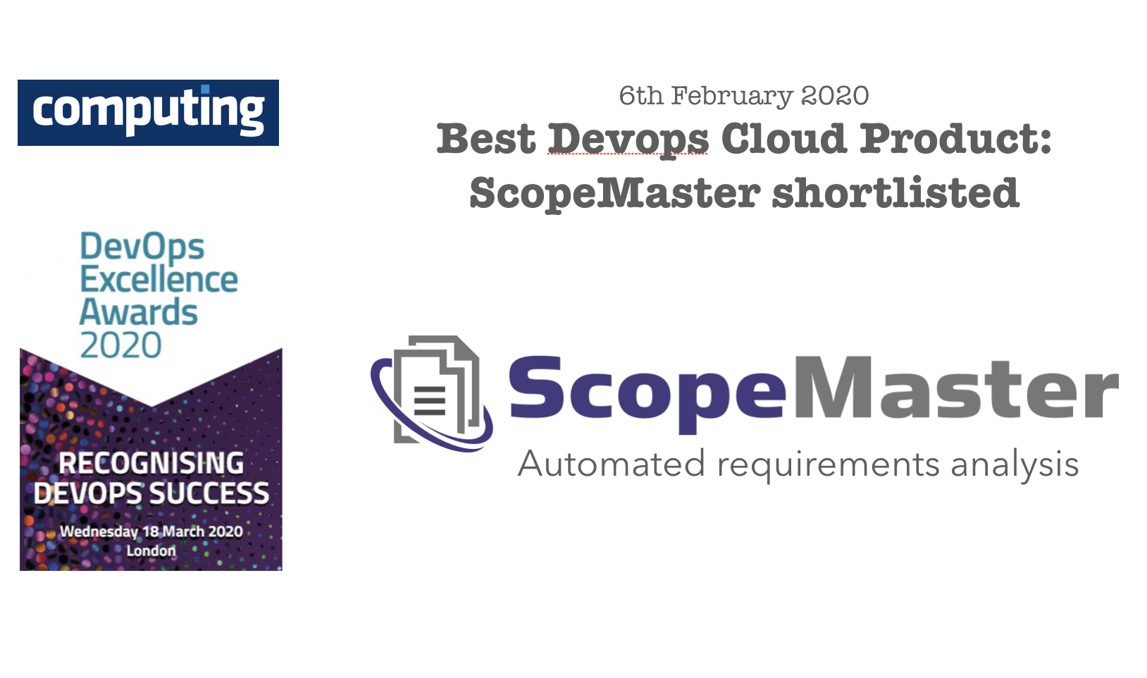 ScopeMaster shortlisted for Computing award for best Devops Cloud product