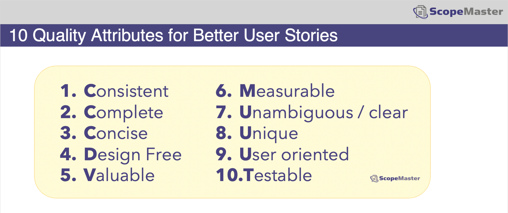 10 attributes for better user stories