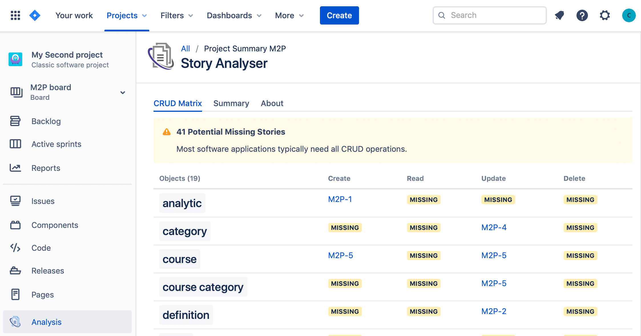 Story Analyser automatically generates the CRUD Matrix - saving you time in discovering missing and duplicated stories